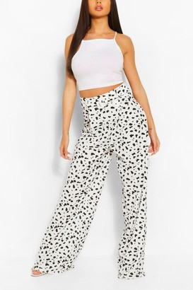 boohoo Animal Print Pleat Front Super Wide Leg Pants