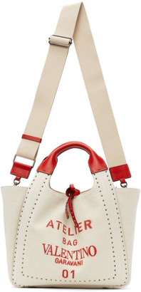 Valentino Beige and Red 01 Metal Stitch Edition Atelier Canvas Small Bag