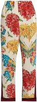 Gucci Corsage-print silk crepe de Chine trousers