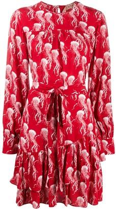No.21 Jellyfish-Print Wraparound Dress