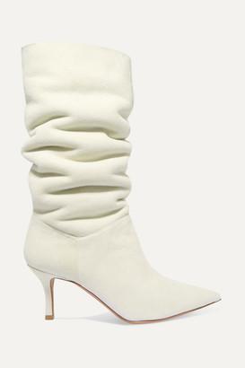 Amina Muaddi - Ida Shearling-lined Suede Knee Boots - White