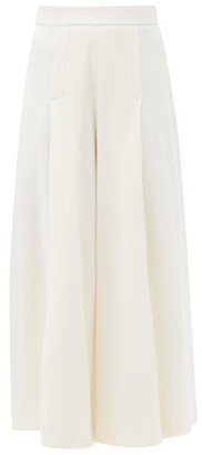 Emilia Wickstead Pacifica Wool-crepe Wide-leg Trousers - Ivory