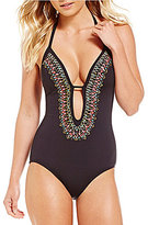 Kenneth Cole Reaction Sea Gypsy Plunge Halter One-Piece