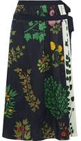 Oscar de la Renta Floral-print Silk-jacquard Midi Wrap Skirt