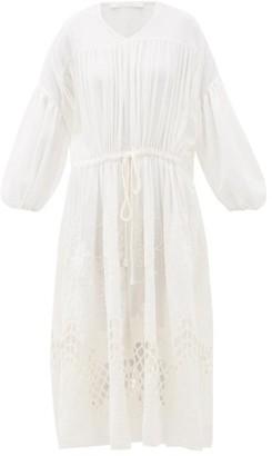 Love Binetti - Esperanza Floral-embroidered Cotton Midi Dress - Ivory
