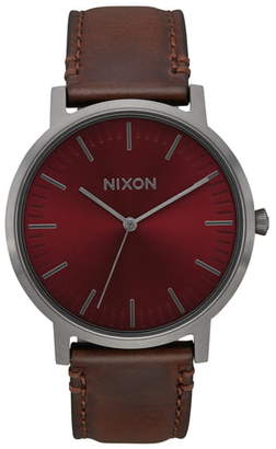 Nixon Porter Leather Strap Watch, 40mm