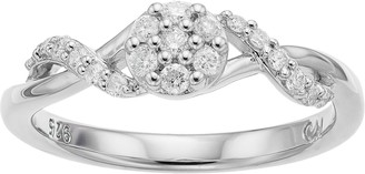 I Promise You Sterling Silver 1/4 Carat T.W. Diamond Cluster Promise Ring