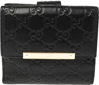 Gucci Black Guccissima Leather French Flap Wallet