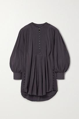Isabel Marant Yacolt Gathered Crinkled Cotton-voile Mini Dress - Charcoal