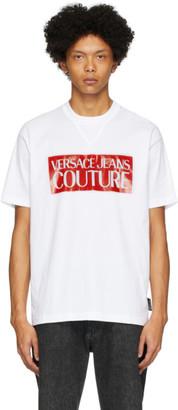 Versace White and Red Pop Box Logo T-Shirt