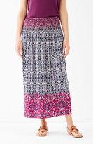 J. Jill Smocked-Waist Print Skirt