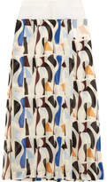 Victoria Beckham Pleated Printed Georgette Midi Skirt - Blue