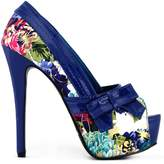 Show Story Floral Print Bow Party Evening Stiletto Pumps,LF80824BU39,9US