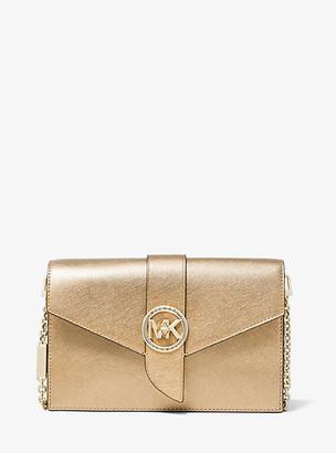 MICHAEL Michael Kors MK Medium Metallic Saffiano Leather Convertible Crossbody Bag - Pale Gold - Michael Kors