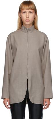 The Row Grey Wool Zana Shirt