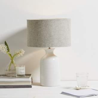 The White Company Ceramic Small Bottle Table Lamp, White Grey, One Size