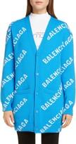 Balenciaga Oversize Logo Jacquard Wool Blend Cardigan