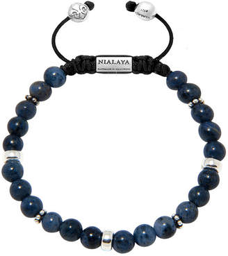 Nialaya Men Beaded Bracelet With Blue Dumortierite And Silver