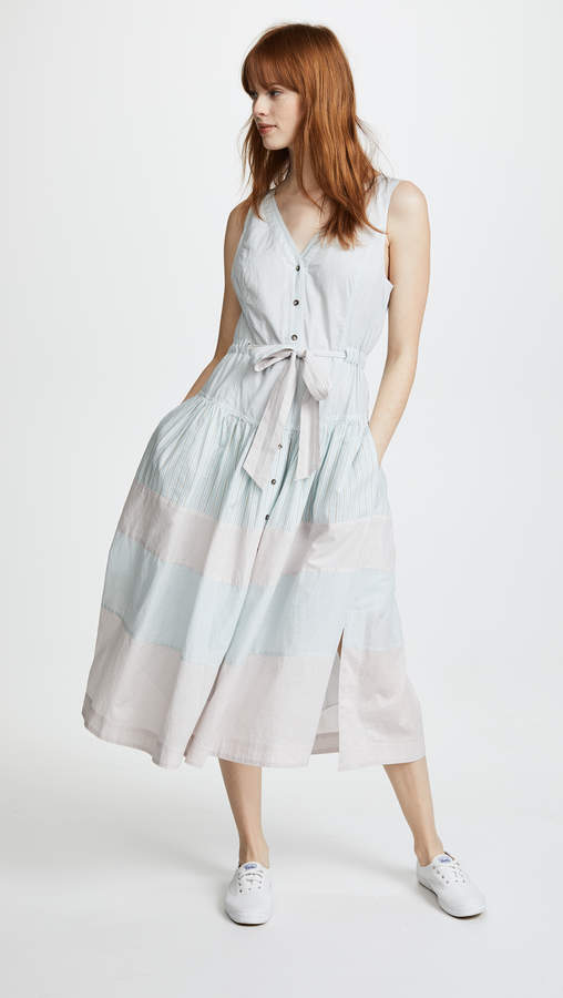 Rebecca Taylor Short Sleeve Stripe Mix Dress