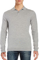 Black Brown 1826 Merino Wool Long Sleeve Polo Shirt