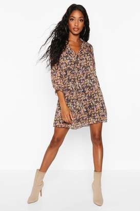 boohoo Woven Floral Plunge Ruffle Smock Dress
