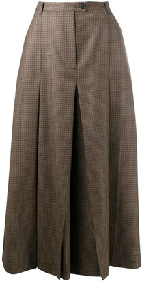 Maison Margiela Check Pleated Mid-Length Skirt