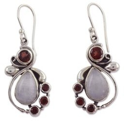 Novica Handmade Exquisite Garnet and Rainbow Moonstone Dangle Earrings