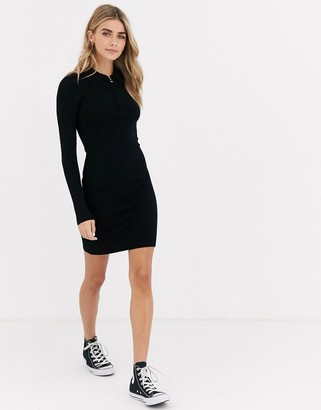 Miss Selfridge knitted mini dress with zip in black