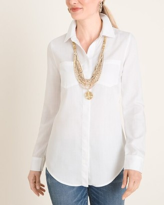 Chico's No-Stain White Classic Denim Shirt