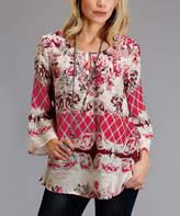 Stetson Pink Floral Three-Quarter-Sleeve Top - Women