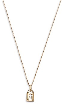 Bloomingdale's Lock Pendant Necklace in 14K Yellow Gold, 16 - 100% Exclusive