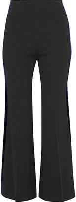 Roland Mouret Velvet-trimmed Stretch-crepe Flared Pants