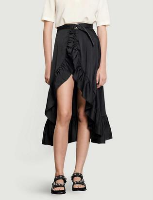 Sandro Ilona asymmetric satin-crepe midi skirt