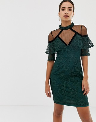 Dolly & Delicious 3/4 sleeve lace shift dress-Green