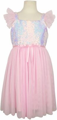 Popatu Sequin Flutter Sleeve Tulle Dress