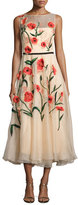 Lela Rose Floral-Appliqué; Sleeveless Midi Dress