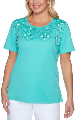 Alfred Dunner Petite Miami Beach Cut-Out Top
