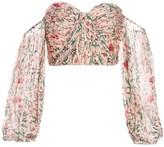 AMUR Helena Off-The-Shoulder Puff-Sleeve Silk Top