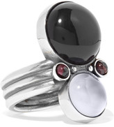 Bottega Veneta Silver, Onyx And Chalcedony Ring - 13
