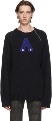 Raf Simons Navy Letter Badge Sweater