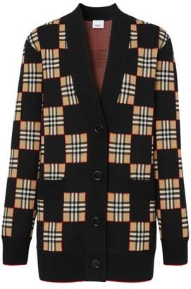 Burberry Paislee Checkerboard Wool-Blend Cardigan
