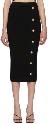 Balmain Black Knit High-Waisted Skirt