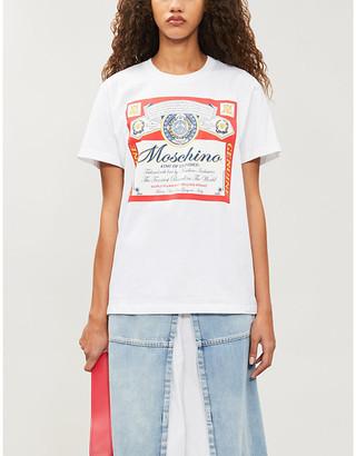 Moschino x Budweiser print cotton-jersey T-shirt