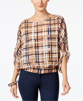 Alfani Plaid Blouson Top, Only at Macy's