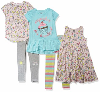 Spotted Zebra Girls' Standard 5-Piece Knit Dress Tunics and Leggings Outfit Sets
