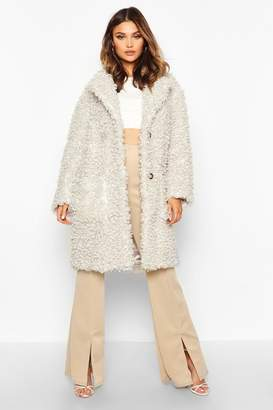 boohoo Premium Teddy Faux Fur Longline Coat