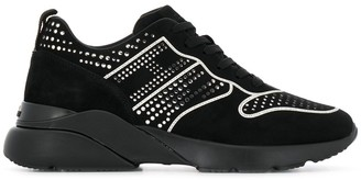Hogan Silver-Tone Stud Detail Sneakers