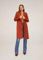 MANGO Lapelled straight-cut coat orange - XS - Women