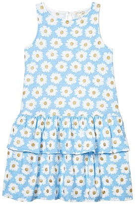 crewcuts by J.Crew Textured Lila Dress (Toddler/Little Kids/Big Kids) (Blue/Gold) Girl's Clothing