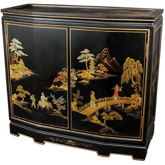 World Menagerie Christiane Japanese Slant Front 2 Doors Accent Cabinet